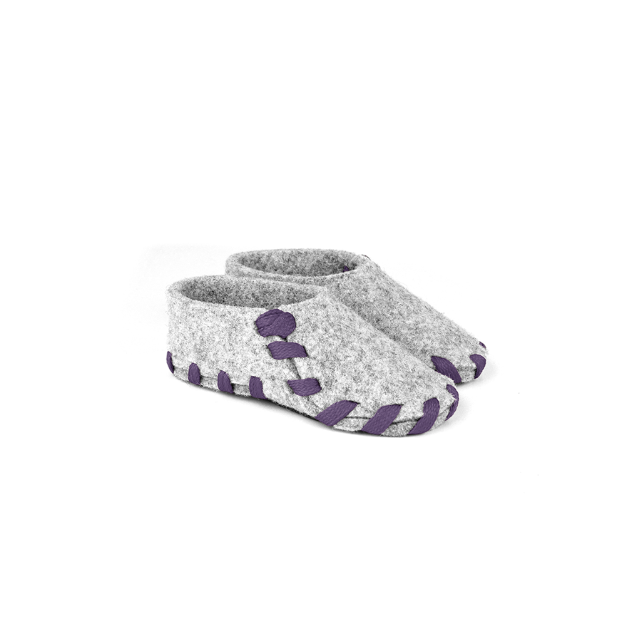 Lasso Baby Slippers Grey&Violet