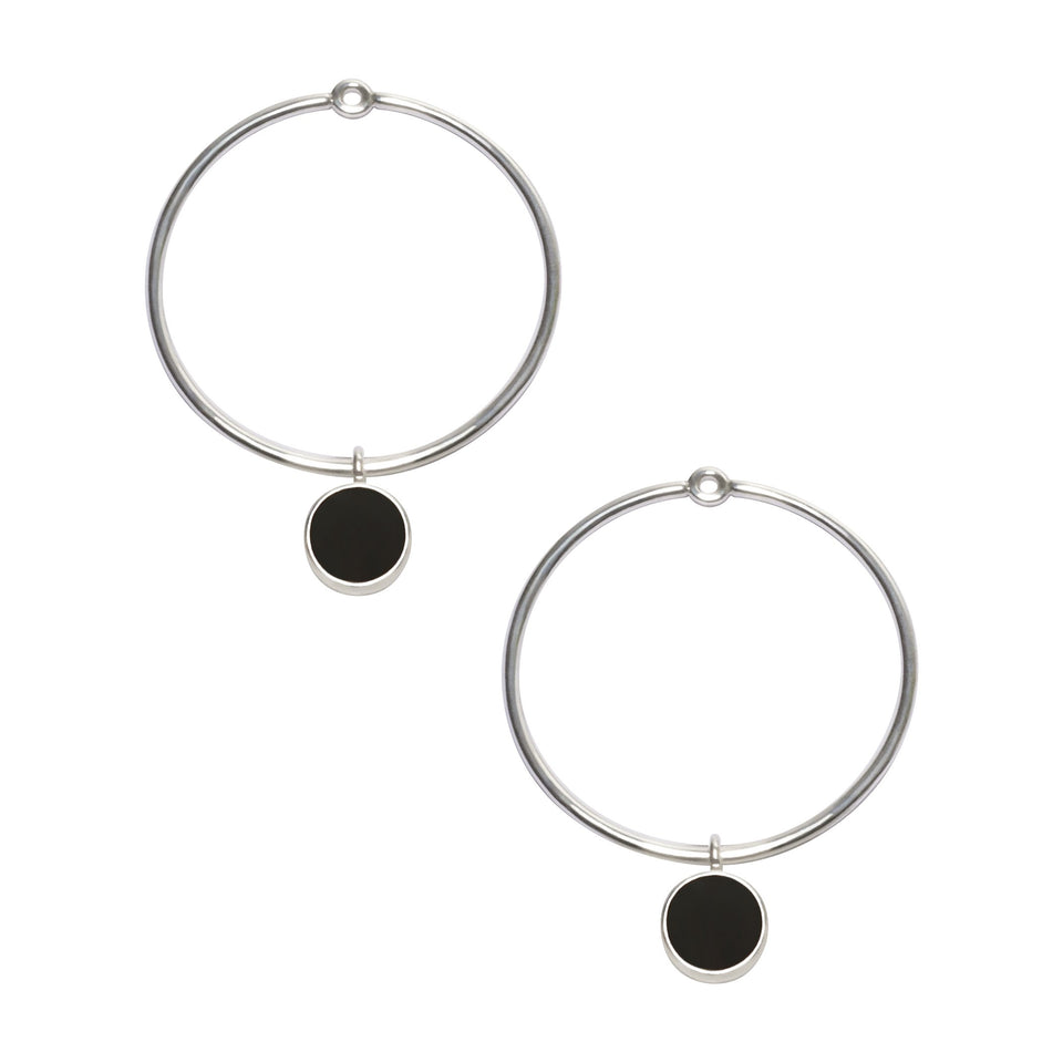 Gem Circle Earrings in Silver