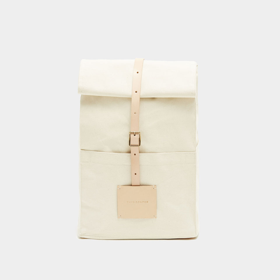 Top Roll Rucksack Off White
