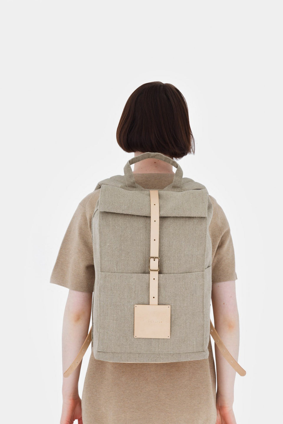 Thisispaper Top Roll Backpack Raw Natural