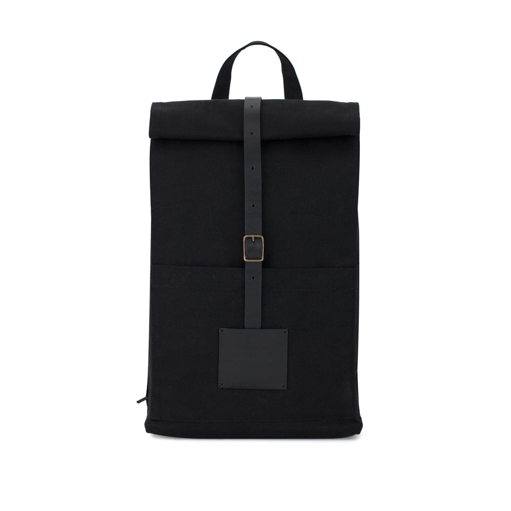 Top Roll Rucksack Solid Black