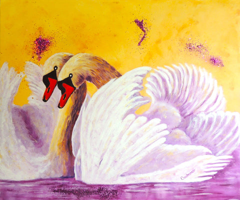 "Signes D'Amour / Swans of Love, 20""Hx24""W"