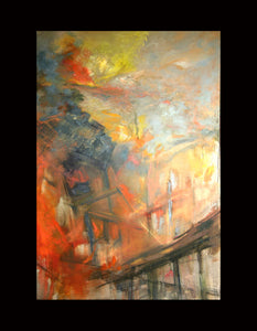 "Burning Bridge, 36""x60"""