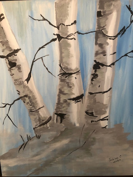 "The birches / Les bouleaux blancs, 24""X28"""