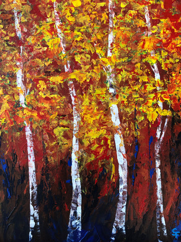 "Maples & Birches, 14""Hx11W"