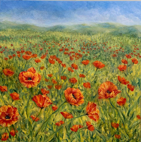 "Field of Poppies, 20""Hx20W"""