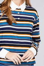 Load image into Gallery viewer, Ladies fashion plus size long sleeve multi striped dty brushed shirts