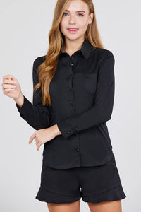 Long Sleeve Princess Line One Side Pocket Button Down Woven Shirts