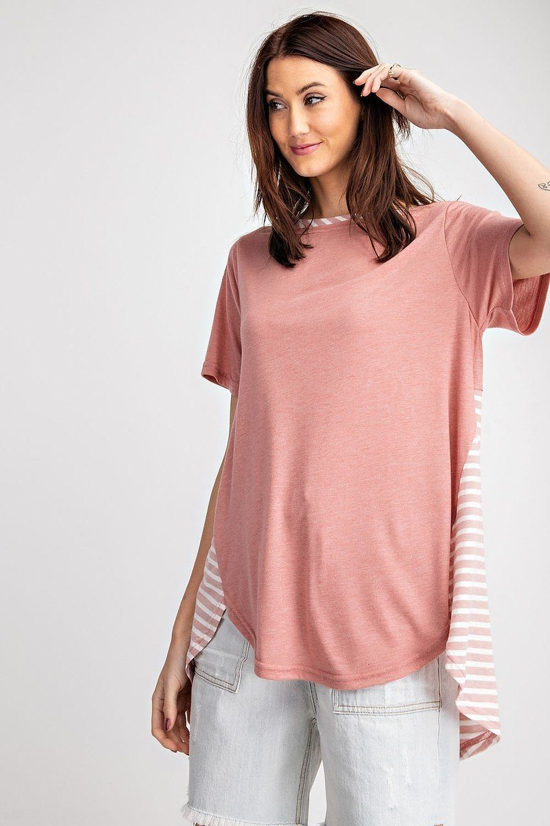 Short Sleeves Rayon Slub Mix And Match Striped Contrast Boxy Top
