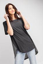 Load image into Gallery viewer, Short Sleeves Rayon Slub Mix And Match Striped Contrast Boxy Top