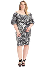 Load image into Gallery viewer, Plus Size  Animal Print Crepe Stretch Bodycon Dress