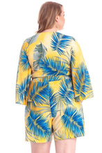 Load image into Gallery viewer, Tropical Leaf Print Kimono Sleeve Romper