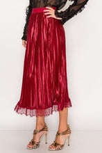 Load image into Gallery viewer, Lace Trim Accordion Pleated Midi Skirt