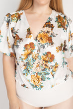 Load image into Gallery viewer, Floral Print Front Warp Bodysuit