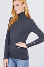 Load image into Gallery viewer, Long Sleeve With Metal Button Detail Turtle Neck Viscose Sweater