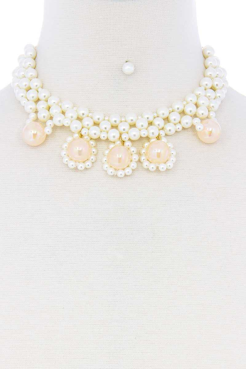 Chunky Rose Pearl Deco Choker Necklace
