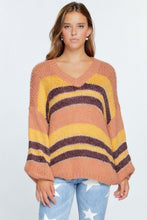 Load image into Gallery viewer, V-neck Cozy Thick Knit Stripe Pullover Sweater