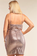 Load image into Gallery viewer, Plus Size Mocha Blush Sleeveless Round Neck Velvet Sequin Fitted Mini Dress