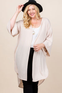 Plus Size Solid Hacci Brush Open Front Long Cardigan With Bell Sleeves