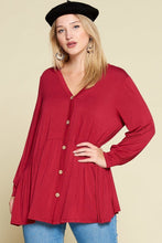 Load image into Gallery viewer, Plus Size Solid Heavy Rayon Modal Jersey Faux Button Up