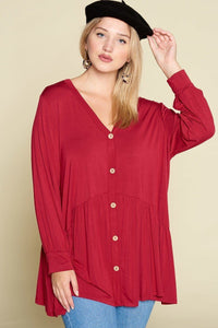 Plus Size Solid Heavy Rayon Modal Jersey Faux Button Up