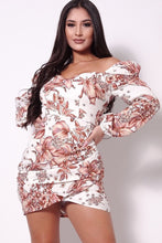 Load image into Gallery viewer, Balloon Sleeve Front Surplus Shirred Hem Floral Mini Dress