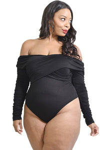 Plus Solid Cross Wrapped Long Sleeve Bodysuit