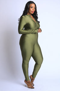 Thumbhole Mock Neck Zip Up Jumpsuit
