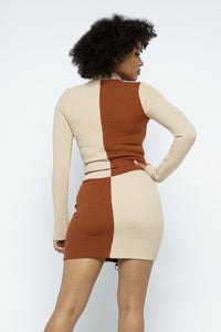 Rib Color Block Mock Neck Long Sleeve High-waist Mini Skirt With Front Zipper Set