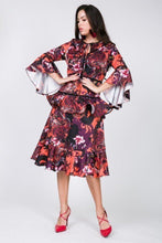 Load image into Gallery viewer, Cascade Ruffle Sleeve Frill Tiered Bottom Print Midi Dress