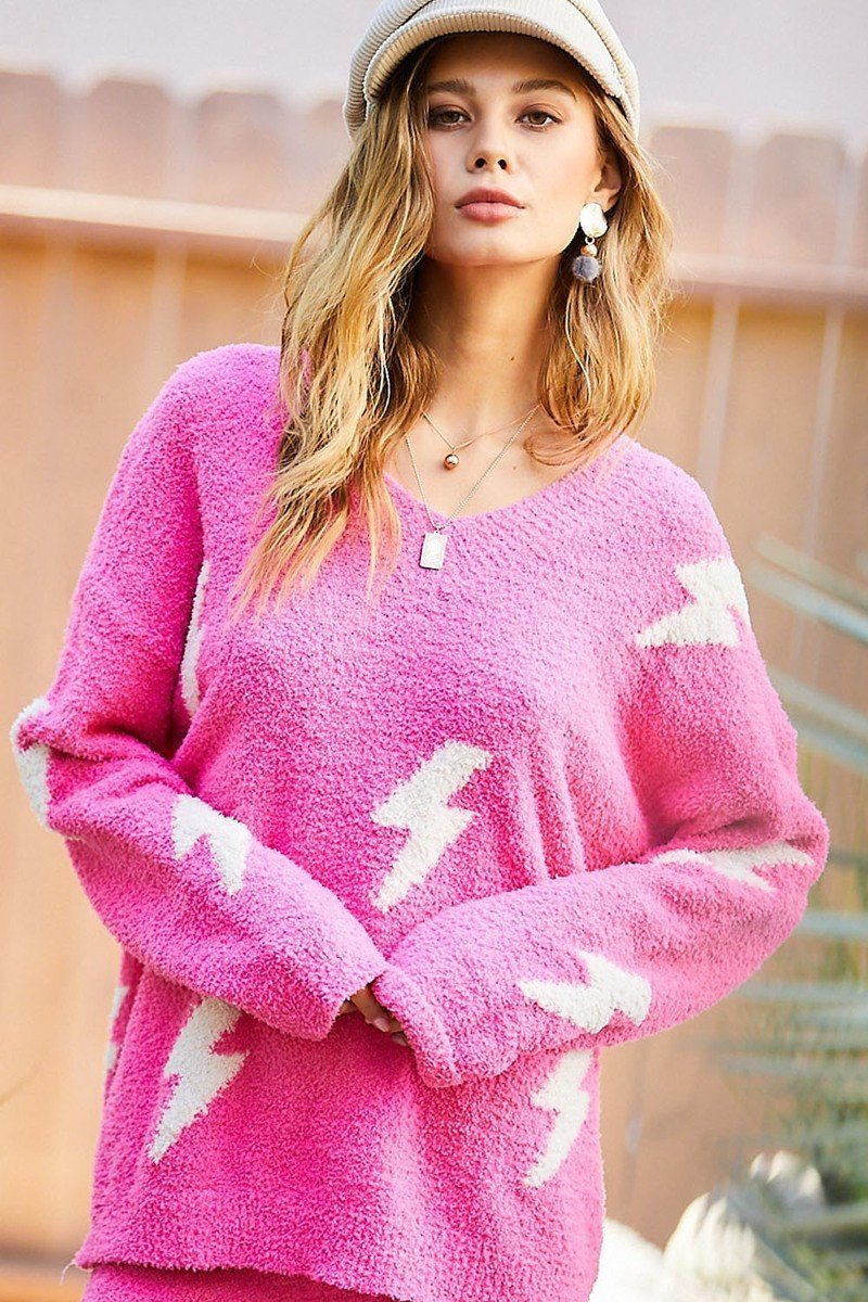 V Neck Contrast Thunder Loose Fit Sweater