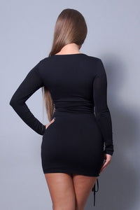 Sexy & Chic Long Sleeve Square Neck Ruching Tie Basic Dress
