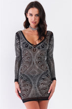 Load image into Gallery viewer, Rhinestone Studded Sheer Mesh Deep V-neck Long Sleeve Bodycon Dress