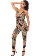 Load image into Gallery viewer, Boarder Print Wrap Drawstring Waist Jumpsuit