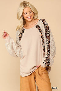Textured Knit And Animal Print Mixed Dolman Sleeve Top