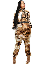 Load image into Gallery viewer, Plus Leopard Print Zipup Jumpsuit