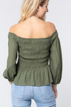 Load image into Gallery viewer, Off Shoulder Smocked Woven Top