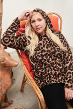 Load image into Gallery viewer, Long Sleeve Hoodie Knit Leopard Print Top