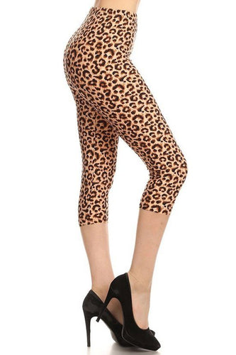 Leopard Printed, High Waisted Capri Leggings In A Fitted Style With An Elastic Waistband