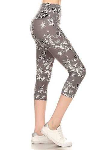 Yoga Style Banded Lined Floral Printed Knit Capri Legging With High Waist.