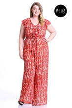 Load image into Gallery viewer, Abstract Print Ruffle Detail Jumpsuit