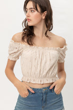 Load image into Gallery viewer, Off Shoulder, Cropped Top Puff Sleeve