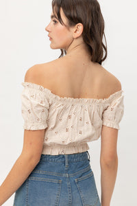 Off Shoulder, Cropped Top Puff Sleeve