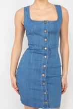 Load image into Gallery viewer, Denim Button-front Mini Dress