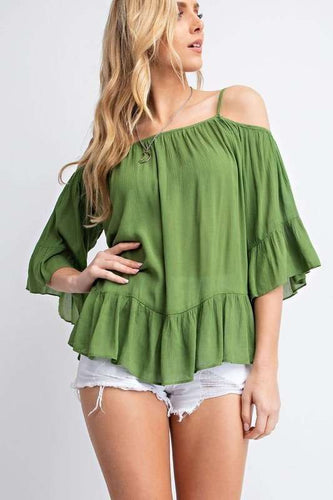 Ruffled Cold Shoulder Sheer Blouse Top