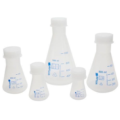 Plastic Erlenmeyer Flask with Screw Cap, 100mL