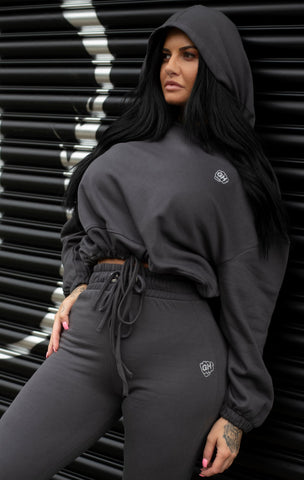 Cropped Oversize Hoodie Charcoal