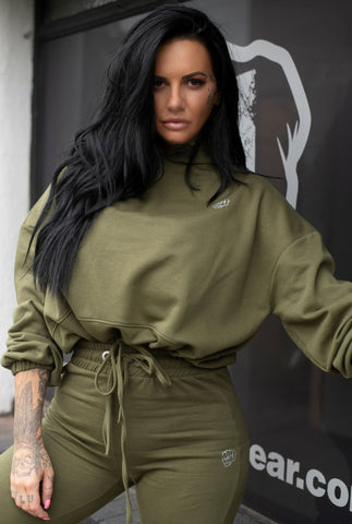 Cropped Oversized Hoodie Olive