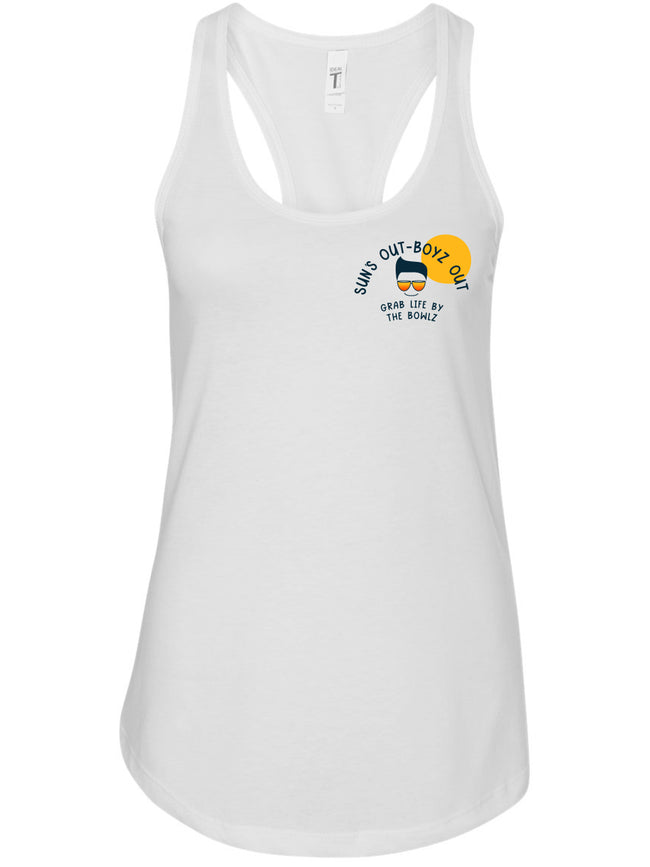 bowl boyz Women white premium racerback tank tops with sun's out boyz out logo on left chest