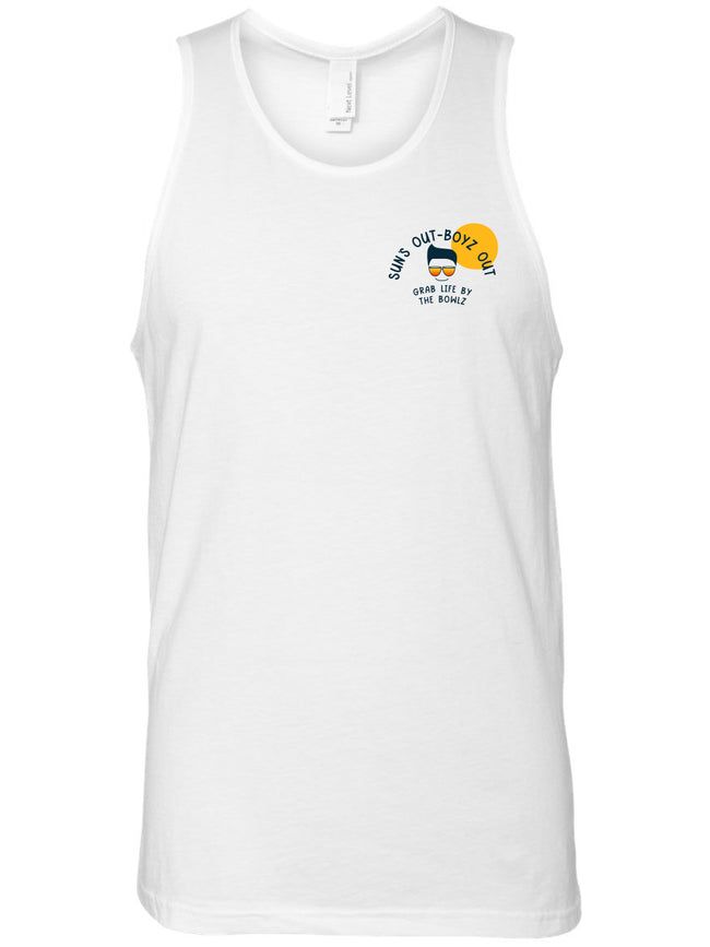 bowl boyz men white premium tank tops with sun's out boyz out logo on left chest